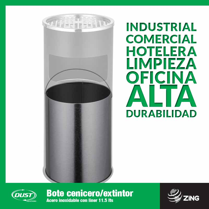 Bote cenicero/extintor Acero inoxidable con liner 11.5 lts