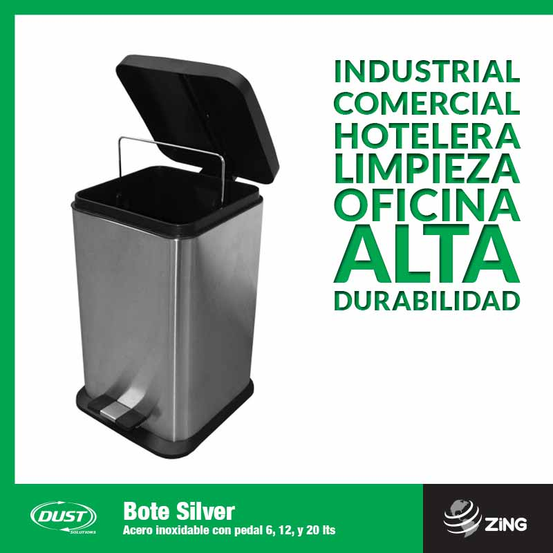 Bote Silver Acero inoxidable con pedal 6, 12, y 20 lts Dust